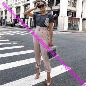 NWT Zara beige-pink pleated pants with belt SZ XS